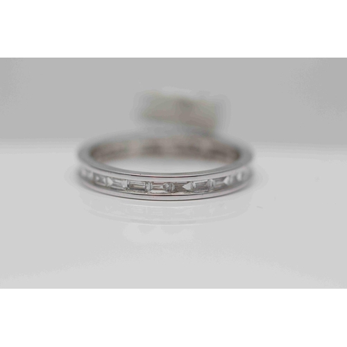 277 - **£1,500.00** 18CT WHITE GOLD EMERALD CUT DIAMOND FULL BAND SET RING 3MM WIDE, (0.59 CARAT) COLOUR: ...