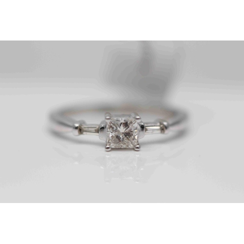 280 - **£3,450.00** 18CT WHITE GOLD PRINCESS CUT SOLITAIRE DIAMOND RING WITH TAPERED BAGUETTE SHAPED DIAMO...