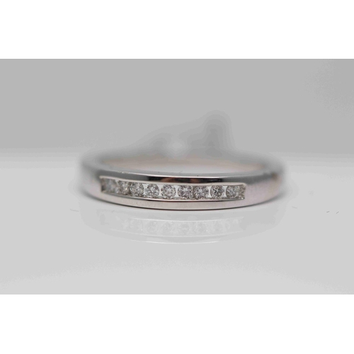 283 - **£950.00** 18CT WHITE GOLD CHANEL SET BRILLIANT CUT DIAMOND HALF ETERNITY RING (0.15 CARAT) COLOUR:...