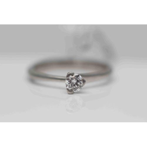 287 - **£1,525.00** 18CT WHITE GOLD BRILLIANT CUT DIAMOND SOLITAIRE RING (0.33 CARAT) CERTIFACATED STONE C...