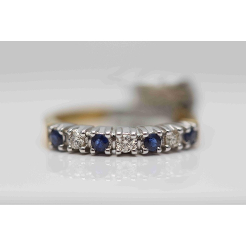 289 - **£1,100.00** 18CT YELLOW & WHITE GOLD 7 STONE BRILLIANT CUT DIAMOND AND SAPPHIRE HALF ETERNITY RING...