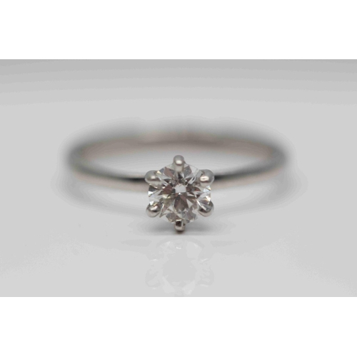 290 - **£2650.00** PLATINUM, BRILLIANT CUT SINGLE STONE DIAMOND SOLITAIRE RING, DIAMOND WEIGHT- 0.52CT,COL...