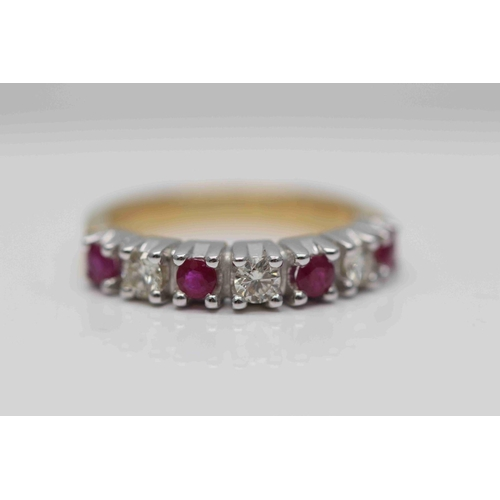 291 - **£1,750.00** 18CT YELLOW & WHITE GOLD BRILLIANT CUT RUBY AND DIAMOND 7 STONE HALF ETERNITY RING, 3 ...