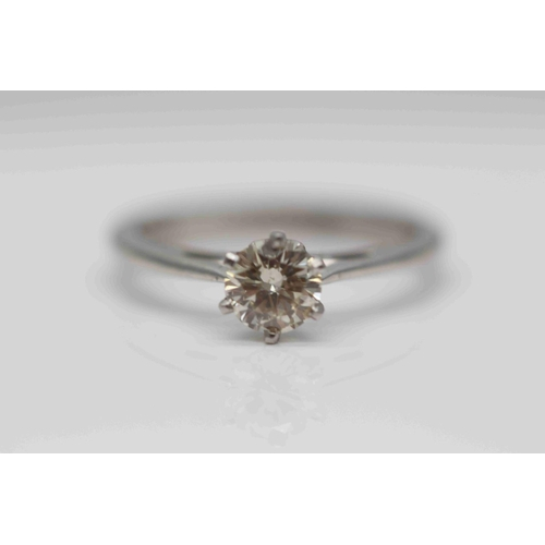 294 - **£2,650.00** PLATINUM SOLITAIRE BRILLIANT CUT DIAMOND RING (0.58 CARAT) COLOUR: J CLARITY: SI-1 VAL...