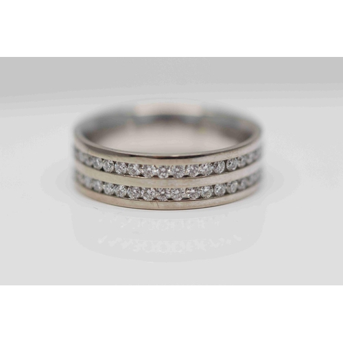 299 - **£3.650.00** 18CT WHITE GOLD 8MM WIDE BAND 2 ROW BRILLIANT CUT DIAMOND ALL THE WAY AROUND DIAMOND W...