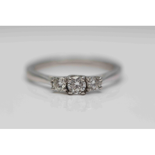 307 - **£1,100.00** 18CT WHITE GOLD BRILLIANT CUT DIAMON 3 STONE RING TOTAL WEIGHT (0.40 CARAT) COLOUR: H ...