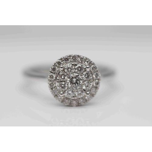 316 - **£1,950.00** 18CT WHITE GOLD TIFFANY STYLE CLUSTER RING BRILLIANT CUT DIAMONDS (0.60 CARAT) COLOUR:...