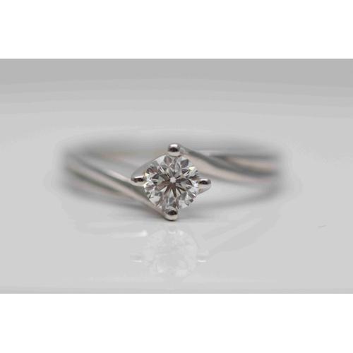317 - **£3,650.00** PLATINUM BRILLIANT CUT DIAMOND SOALITAIRE RING (0.50 CARAT) SET ON A TWIST COLOUR: G C...
