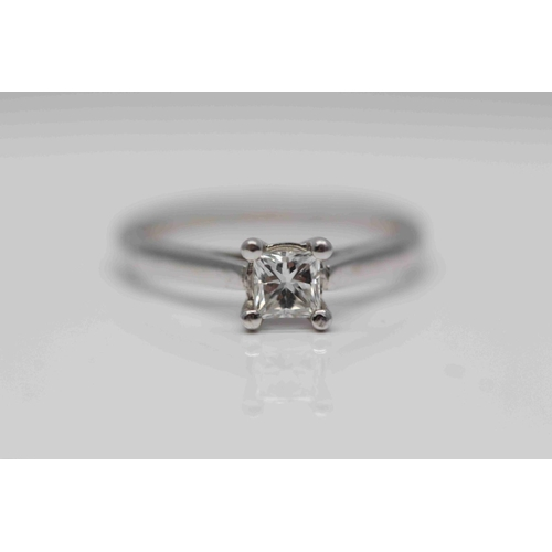 322 - **£2,150.00** 18CT WHITE GOLD PRINCESS CUT DIAMOND SOLITAIRE RING (0.40 CARAT) COLOU: G CLARITY: SI-...