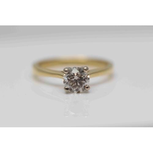 336 - **£6,250.00** 18CT YELLOW & WHITE GOLD BRILLIANT CUT 1.00 CARAT DIAMOND SOLITAIRE RING COLOUR: J CLA...