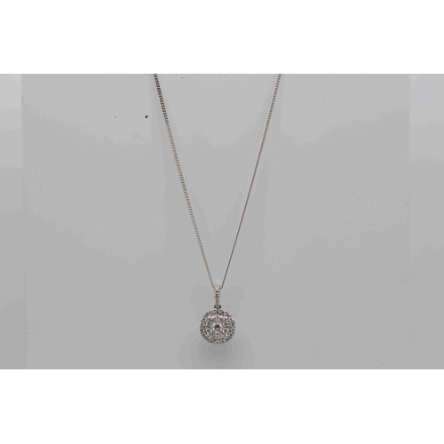 341 - **£985.00** 9CT WHITE GOLD CURB CHAIN WITH 18CT WHITE GOLD BRILLIANT CUT DIAMOND HALO PENDENT DIAMON...