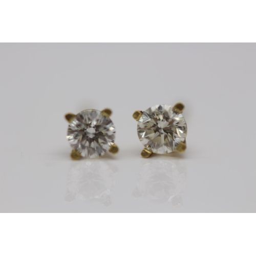 364 - **£1,450.00** 18CT YELLOW GOLD 4 CLAW SET BRILLIANT CUT DIAMOND STUD EARRINGS, (0.50 CARAT) COLOUR: ...