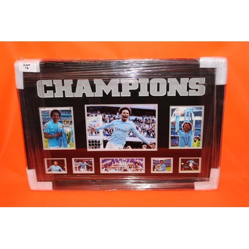 12 - 1X LEROY SANE SIGNED PHOTO, COMPLETE PROFESSIONALY FRAMED WITH AFTAL CERTIFICATE OF AUTHENTICATION...