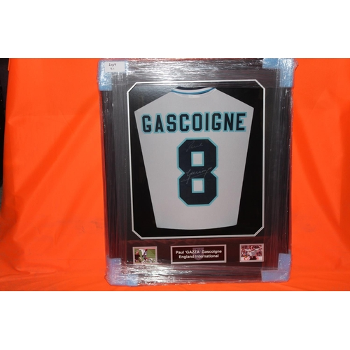 16 - 1X PAUL GASCOGINE SIGNED SHIRT 3D LED, COMPLETE PROFESSIONALLY FRAMED WITH AFTAL CERTIFICATE OF AUTH...