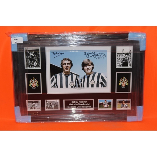 45 - 1X BOBBY MONCUR AND MALCOLM MACDONALD SIGNED PHOTO MONTAGE, COMPLETE PROFESSIONALLY FRAMED WITH AFTA...