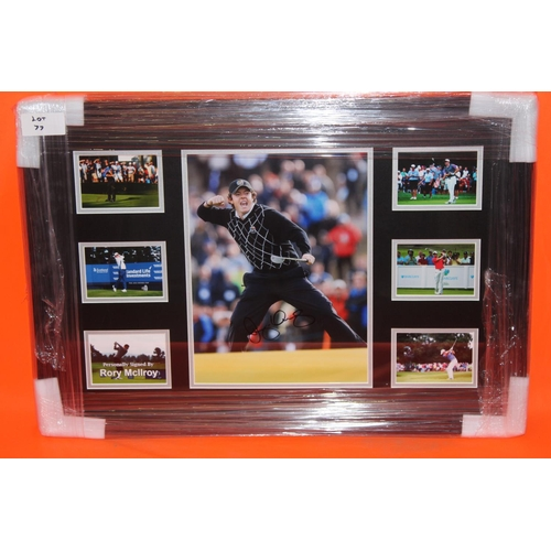 52 - 1X RORY MCILROY SIGNED PHOTO MONTAGE, COMPLETE PROFESSIONALLY FRAMED WITH AFTAL CERTIFICATE OF AUTHE...