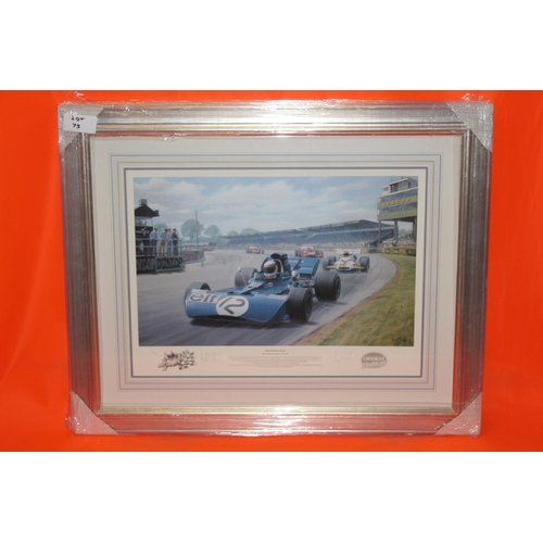 56 - 1X JACKIE STEWART THE WINNING TEAM SIGNED ART PRINT, COMPLETE PROFESSIONALLY FRAMED WITH AFTAL CERTI...