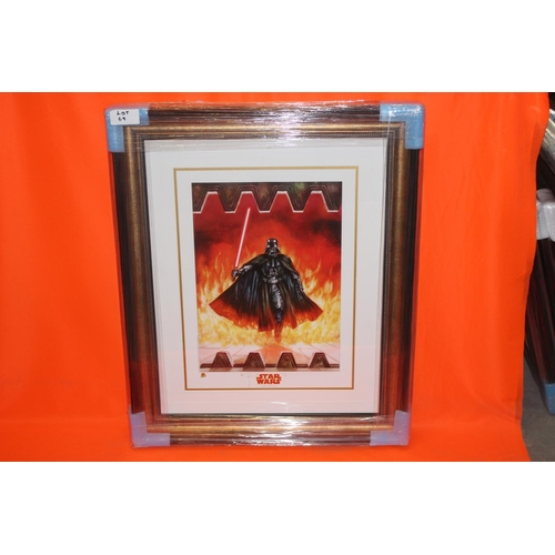 60 - 1X STAR WARS SIGNED ART POSTER, COMPLETE PROFESSIONALLY FRAMED WITH AFTAL CERTIFICATE OF AUTHENTICAT...