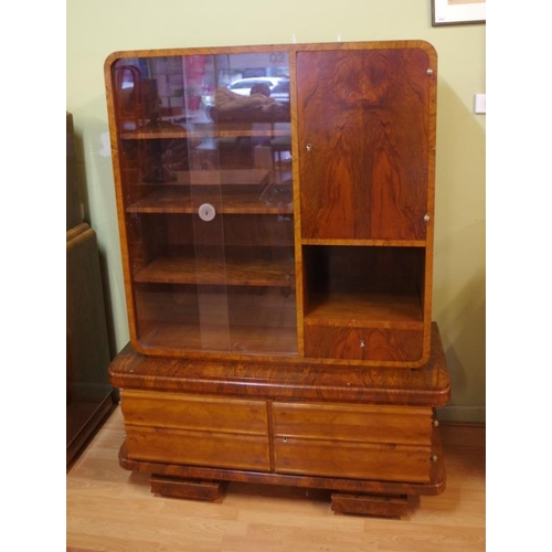 German Art Deco burr walnut display cabinet with maker's badge