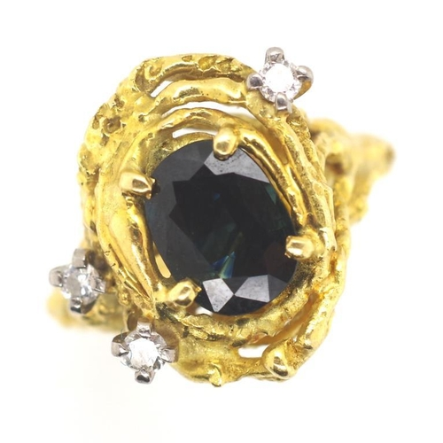 19 - Modernist 18ct gold sapphire and diamond ring molten gold with an approx 8.6mm x 6.5mm green/ blue s...