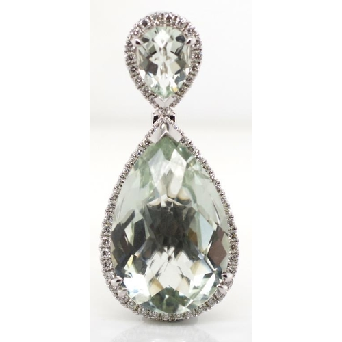 24 - Aquamarine, diamond and 18ct gold pendant marked 750 PPJ approx 60x white round brilliant cut diamon...