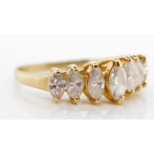 28 - Marquise diamond and 14ct gold ring five graduated stone set ring marked 14k. Approx ring size L, 2 ...
