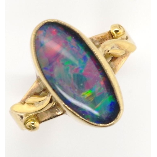 30 - Gold and opal triplet ring tests as 9ct approx 2.7 grams, ring size J. Tests as 9ct...