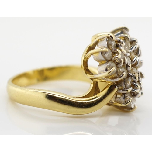 37 - 14ct gold and diamond cluster ring approx 21x round diamonds set in a three flower arrangement. Mark...