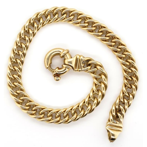 43 - 9ct gold double curb link bracelet rubbed 9ct marks ? approx 23.8 grams, 19.5cm length.6.6mm gauge. ...