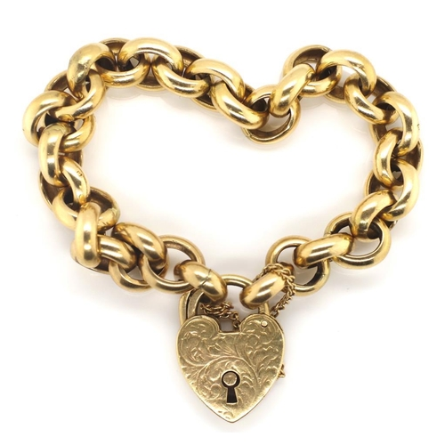 51 - Antique Australian 9ct gold bracelet marked to heart padlock claps and touch marks to oval belcher l...