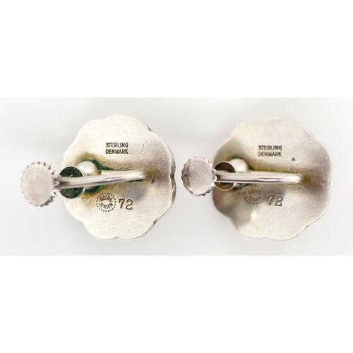 26 - Georg Jensen silver and carnelian ear clips flower design. Marked Post 1945 Jensen mark Sterling Den...