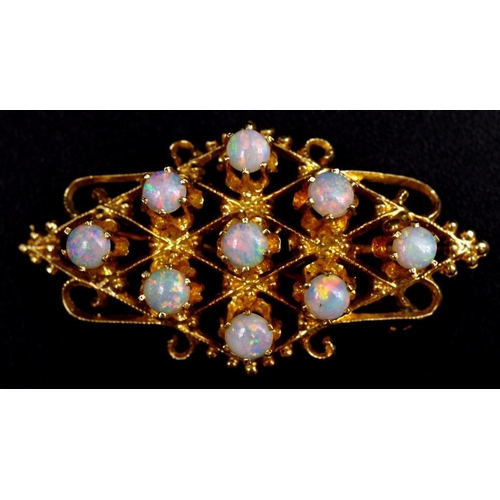 38 - Opal and 14ct yellow gold pendant brooch unmarked approx 7 grams weight...