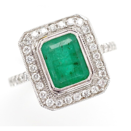 47 - Art Deco style emerald and diamond ring set in 18ct white gold mark to shank. Approx 4.5 grams weigh...