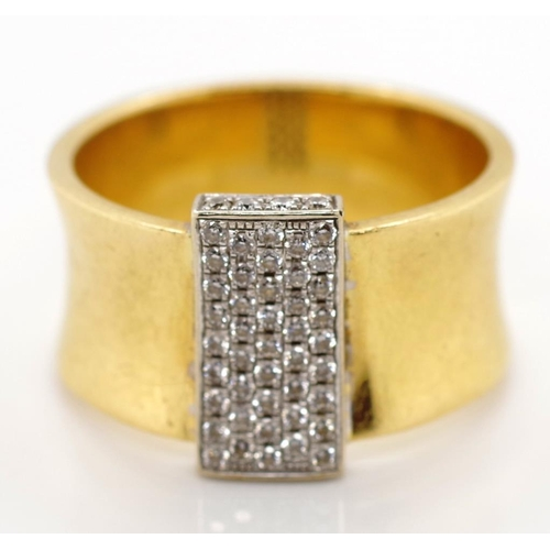 48 - Diamond and two tone 18ct gold ring marked 750 approx 9.4 grams weight, ring size P-Q...