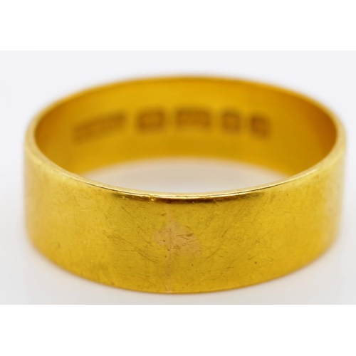 50 - Elizabeth II, 22ct yellow gold ring marked 22 London 1966 approx flat side 06.mm gauge, total weight...