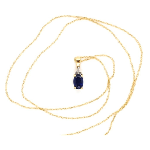 55 - Sapphire, diamond and 14ct yellow gold pendant marked 14k approx 40cm chain length...