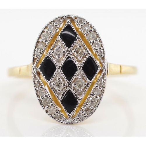 57 - Diamond, onyx and 18ct yellow gold harlequin ring marked 18k 750 approx 2.73 grams gold weight, 24x ...
