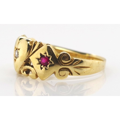 60 - Antique Australian 15ct gold diamond and ruby ring with a heart and diamond form panel. Marked 15ct ...