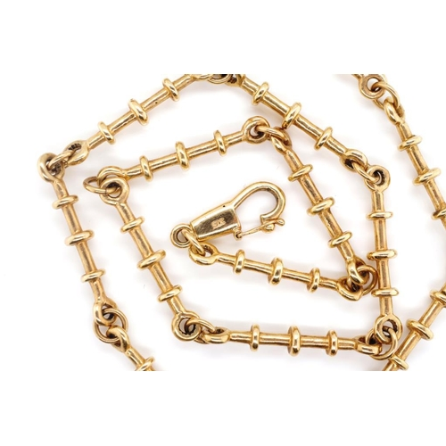 8 - 9ct rose gold necklace with round bar links marked 375 to the clasp. Approx 32 grams weight, 48cm le...