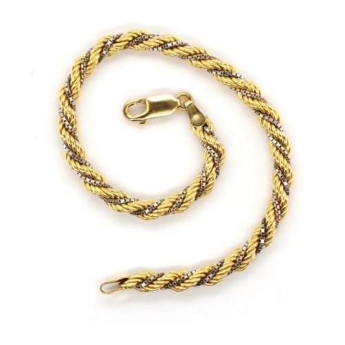 10 - 9ct two tone gold bracelet rope and box chain twist marked 375 9k approx weight 5.8 grams weight, 18...