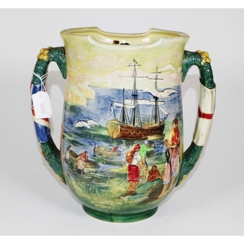 1001 - Doulton Captain Cook twin handled loving cup The handles in the form of two flags, figures in high r...