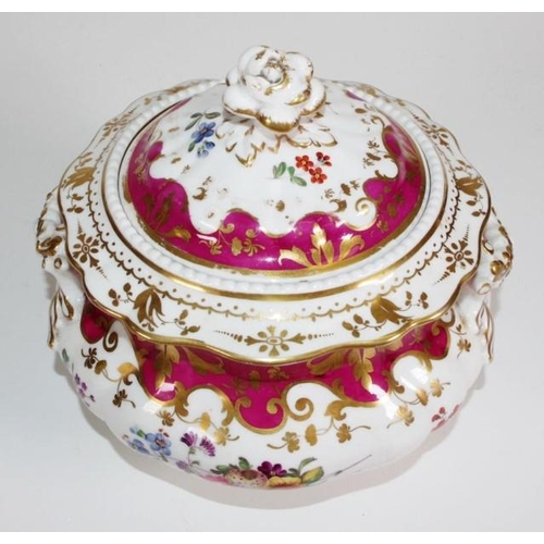 1002 - Antique Coalport sugar box hand painted floral decoration, gilt highlights, dual handles, applied bl...