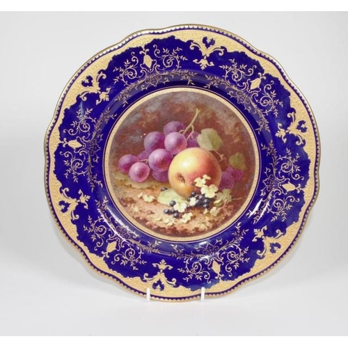 1007 - Coalport signed hand painted display plate signed H. Chivers, with hand painted fruit decoration, gi...