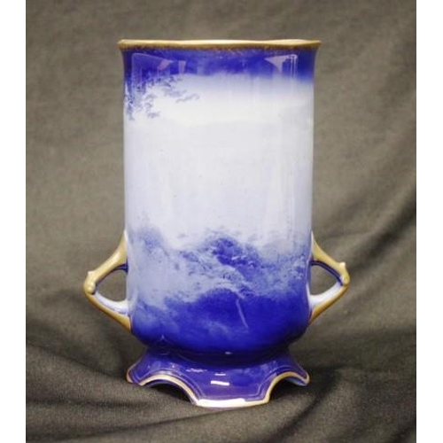 1013 - Vintage Royal Doulton 'Blue Children' vase dual gilded handles, marked to base, (height 18cm approx)...