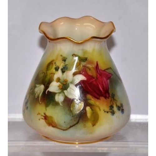 1014 - Royal Worcester handpainted vase circa 1912, 8.5cm approx....