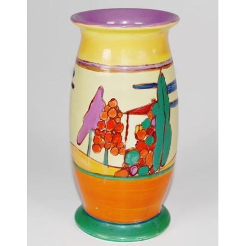 1018 - Vintage Clarice Cliff 'Fantasque' vase tree and hillside decorated, marked to base, (restoration to ...