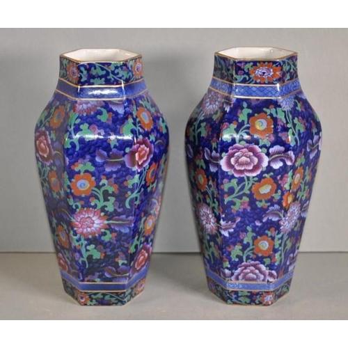 1020 - Pair vintage Booths 'Jacobean' vases extensive floral decoration on cobalt blue ground. Gilt highlig...
