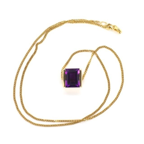 103 - Amethyst and 9ct yellow gold pendant and chain marked with modern London marks pendant, chain Birmin...