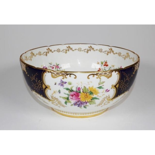 1030 - Good Coalport hand painted serving bowl floral decoration to interior and exterior, marked to base, ...