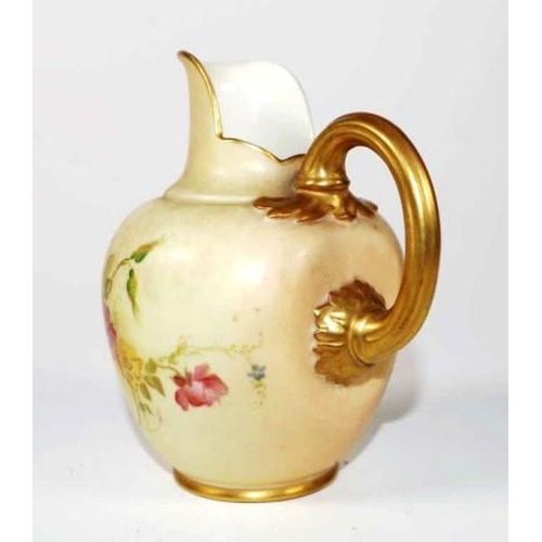 1031 - Royal Worcester blush ivory cream jug with handpainted floral decoration, height 11cm approx...